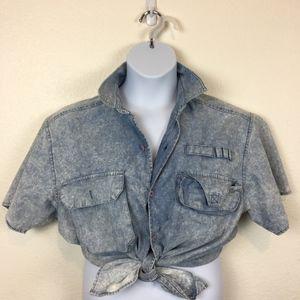 Vintage 80s Acid Wash Dad Shirt Men's Medium